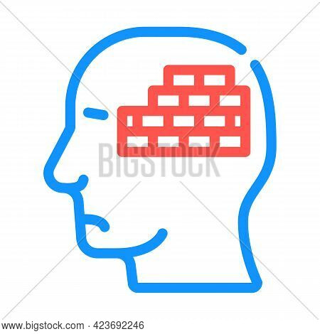 Wall Neurosis Problem Color Icon Vector. Wall Neurosis Problem Sign. Isolated Symbol Illustration