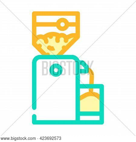 Crusher Device For Production Peanut, Press Machine Color Icon Vector. Crusher Device For Production