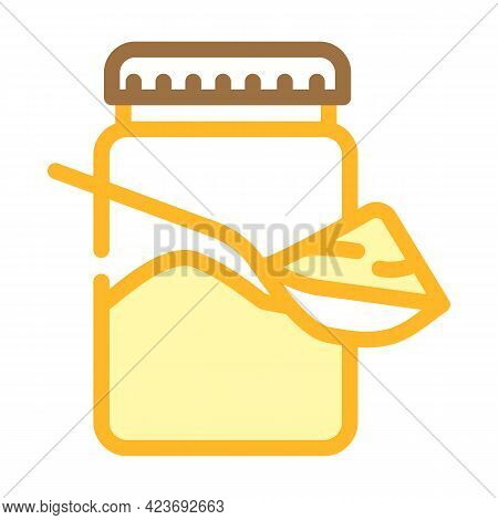 Spoon With Delicious Peanut Butter Color Icon Vector. Spoon With Delicious Peanut Butter Sign. Isola