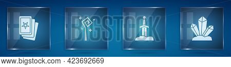 Set Three Tarot Cards, Magic Staff, Sword In The Stone And . Square Glass Panels. Vector