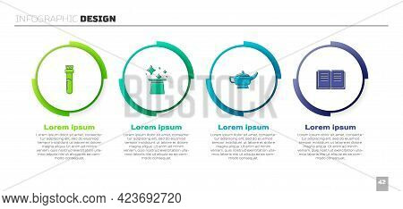Set Bottle With Potion, Magic Hat, Lamp Or Aladdin And Ancient Magic Book. Business Infographic Temp