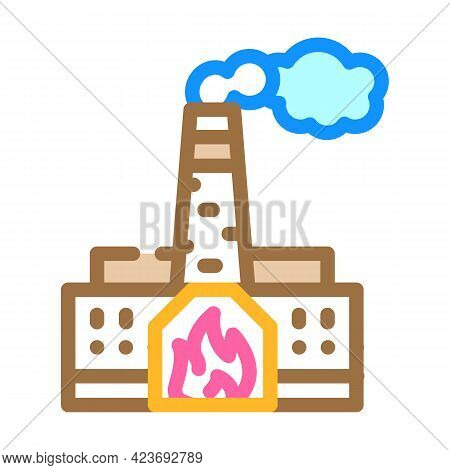 Thermal Power Plant Peat Color Icon Vector. Thermal Power Plant Peat Sign. Isolated Symbol Illustrat