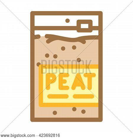 Sachet Bag Peat Color Icon Vector. Sachet Bag Peat Sign. Isolated Symbol Illustration