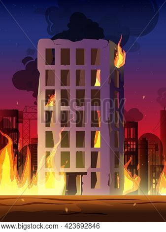 City In Fire, War Destroy Burning Buildings Bridge. City Street On Fire. Burning Tires Wooden And Co