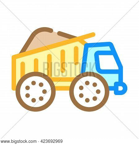 Truck Carrying Peat Color Icon Vector. Truck Carrying Peat Sign. Isolated Symbol Illustration