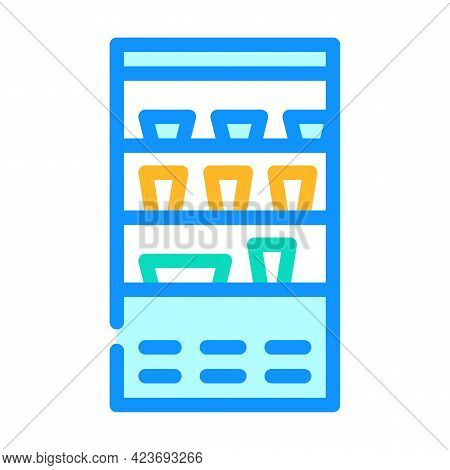 Refrigerator With Food And Drink In Canteen Color Icon Vector. Refrigerator With Food And Drink In C
