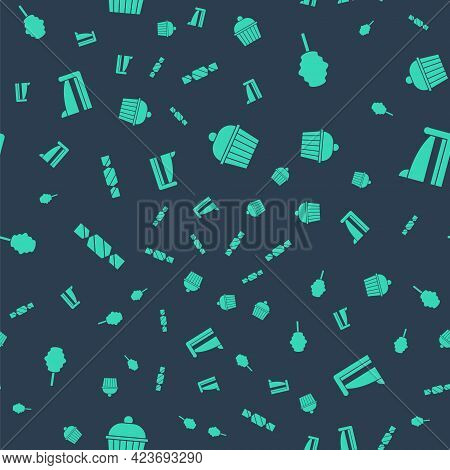 Set Cake, Cotton Candy, Candy And Piece Of Cake On Seamless Pattern. Vector