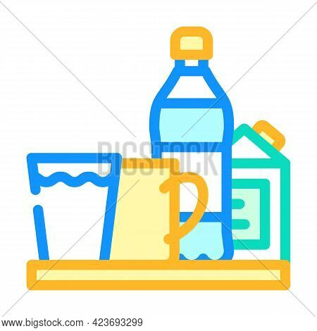 Water And Milk, Tea And Juice Drinks On Tray Color Icon Vector. Water And Milk, Tea And Juice Drinks