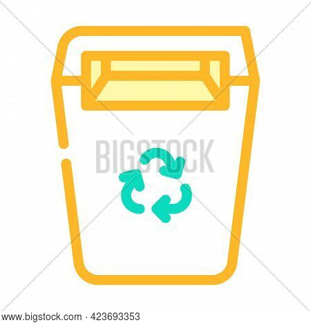 Recycling Garbage Can Canteen Color Icon Vector. Recycling Garbage Can Canteen Sign. Isolated Symbol