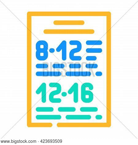 Schedule Of Canteen Work Color Icon Vector. Schedule Of Canteen Work Sign. Isolated Symbol Illustrat