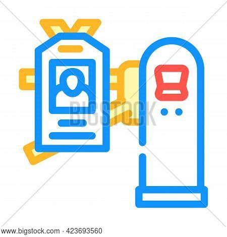 Pass Key For Entry To Canteen Color Icon Vector. Pass Key For Entry To Canteen Sign. Isolated Symbol