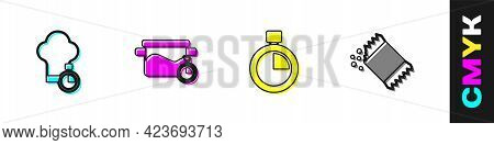 Set Chef Hat, Cooking Pot, Stopwatch And Packet Of Pepper Icon. Vector