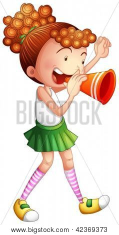 Illustration of a young girl with a noise maker on a white background