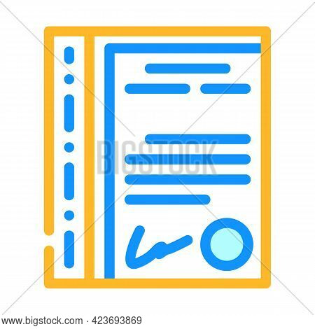 File With Document Stationery Accessory Color Icon Vector. File With Document Stationery Accessory S