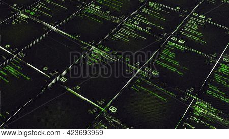 Background With Computer Programs. Animation. Table With Color Program Code That Writes Computer Tas