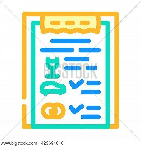 Checklist Wedding Organization Color Icon Vector. Checklist Wedding Organization Sign. Isolated Symb