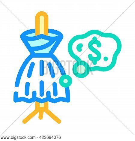 Bride Wedding Dress Color Icon Vector. Bride Wedding Dress Sign. Isolated Symbol Illustration