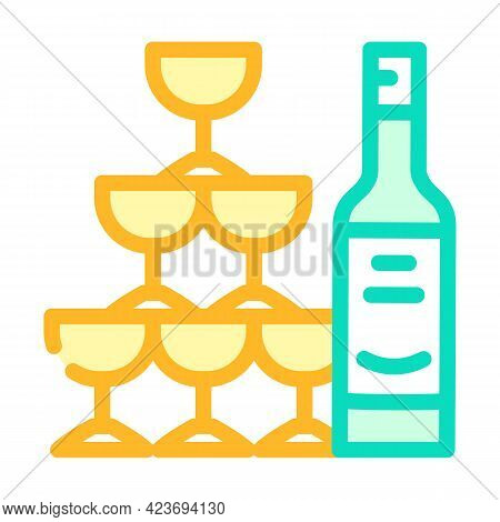 Champagne Wedding Drink For Guests Color Icon Vector. Champagne Wedding Drink For Guests Sign. Isola