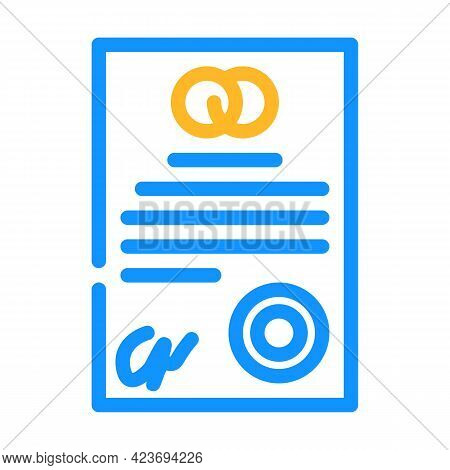 Marriage Contract Color Icon Vector. Marriage Contract Sign. Isolated Symbol Illustration