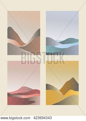 Japanese Background. Abstract Mountain Landscape Poster. Abstract Mountain Contemporary Aesthetic Ba