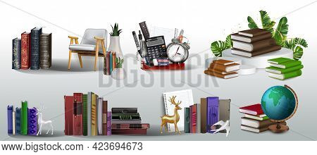 Book Collection, Book Club, Back To School, Book Stack. Stack Of Books, School Supplies, Vertical Bo