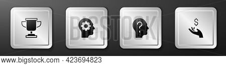 Set Award Cup, Human Head With Gear Inside, Head Question Mark And Hand Holding Coin Money Icon. Sil