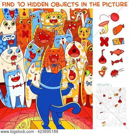 Choir Of Cats With A Cat Conductor. Find 10 Hidden Objects In The Picture. Puzzle Hidden Items. Funn