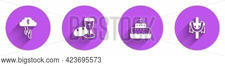 Set Gods Helping Hand, Goblet Bread, Ark Of Noah And Christian Cross Icon With Long Shadow. Vector