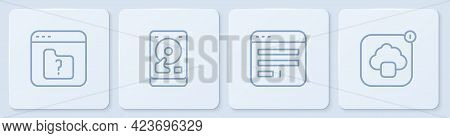 Set Line File Missing, Browser Window, Hard Disk Drive Hdd And Cloud Technology Data Transfer. White
