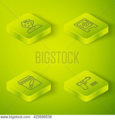 Set Isometric Line Safe, Evidence Bag With Knife, Pistol Or Gun And Murder Icon. Vector