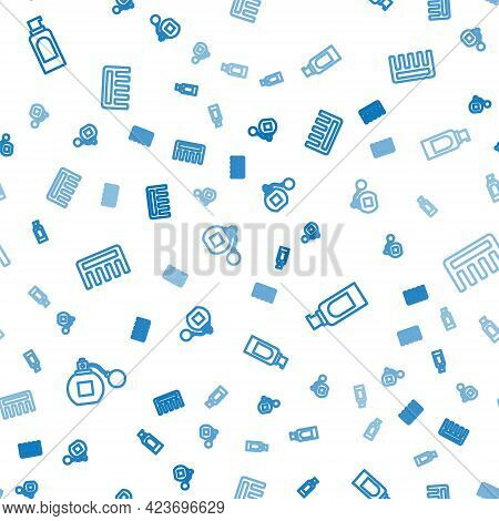 Set Line Perfume, Spray Can For Hairspray And Hairbrush On Seamless Pattern. Vector