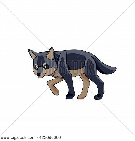 Young Wolf Cub Is Looking For Prey. Cartoon Character Of A Dangerous Mammal Animal. A Wild Forest Cr