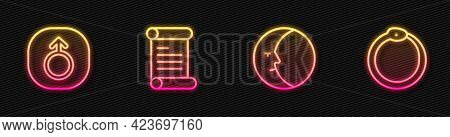 Set Line Moon, Mars, Decree, Parchment, Scroll And Ouroboros. Glowing Neon Icon. Vector