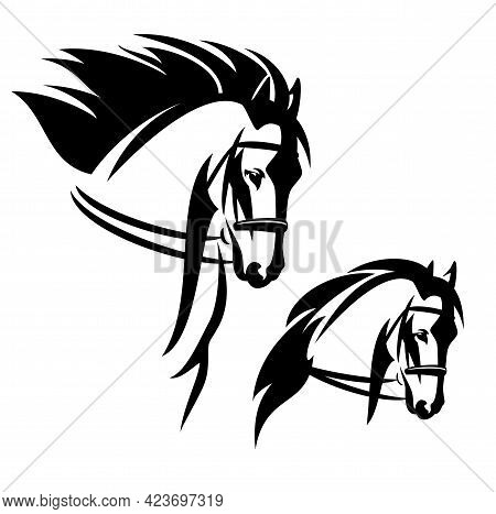 Bridled Horse With Flying Mane Profile Head Black And White Vector Outline Portrait Set