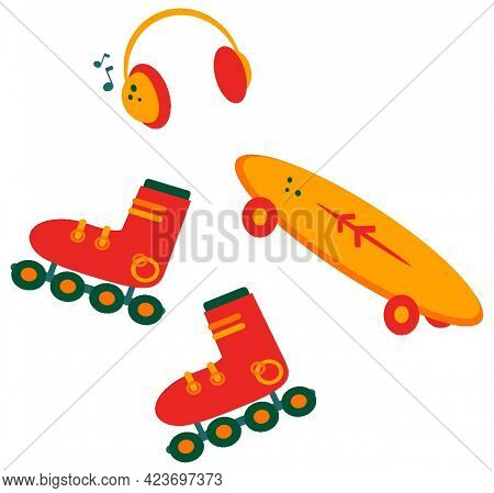 Roller Skates And Skate. Listen To Music And Ride. Isolated.