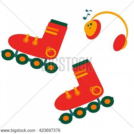 Roller Skates And Music Headphones. Listen To Music And Ride. Roller Skates. Isolated.