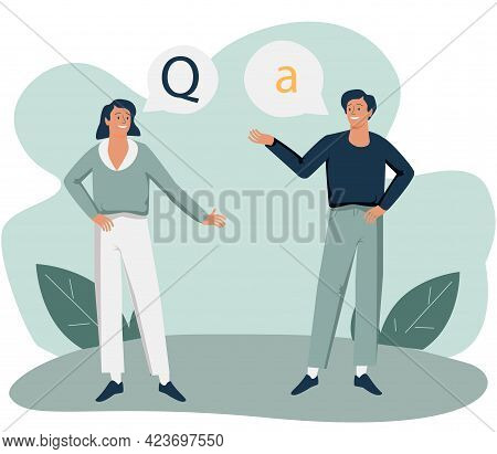 Questions And Answers Or Ask Clarify Unclear Information Tiny Person Concept. Conversation Scene Wit