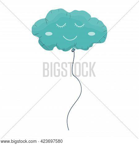 Cute Ballon In Cloud Shape. Party Celebration Balloon For Kids. Cartoon Vector Illustration