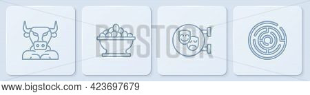 Set Line Minotaur, Comedy And Tragedy Masks, Olives Bowl And Labyrinth. White Square Button. Vector