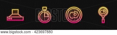 Set Line Scrambled Eggs, Kitchen Extractor Fan, Stopwatch And Fried On Frying Pan. Glowing Neon Icon
