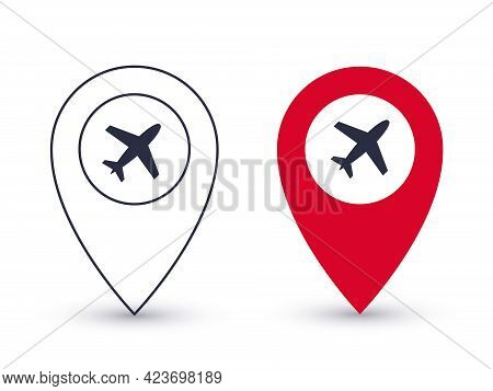Pointer Icons. Airport Point Pin. Geolocation Pointers Concept. Vector Illustration