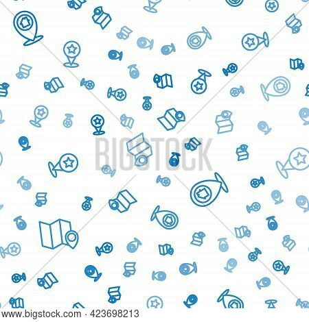 Set Line Folded Map With Location Marker, Location House And Map Pointer Star On Seamless Pattern. V
