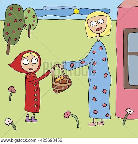Illustration For A Children S Book. Little Red Riding Hood And Gray Wolf. Vector. Drawn By Hand In D