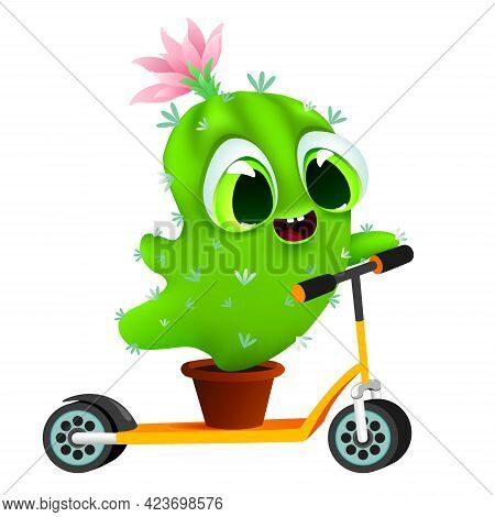 Funny Little Cactus In Pot Is Riding An Electric Scooter On White Background. Vector Illustration Is
