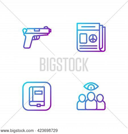 Set Line Spy, Agent, Law Book, Pistol Or Gun And News. Gradient Color Icons. Vector