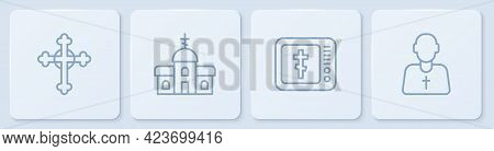 Set Line Christian Cross, Online Church Pastor Preaching, Church Building And Priest. White Square B