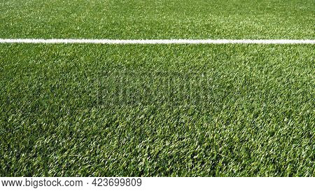 Soccer Field For Championship.the Marking Of The Football Field On The Green Grass. White Line. Foot