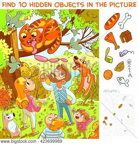 Cat Stole Sausage And Climbed A Tree. Hungry Thief. Find 10 Hidden Objects In The Picture. Puzzle Hi