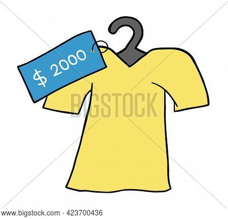 Cartoon Vector Illustration Of T-shirt And Very Expensive Price Tag. Colored And Black Outlines.