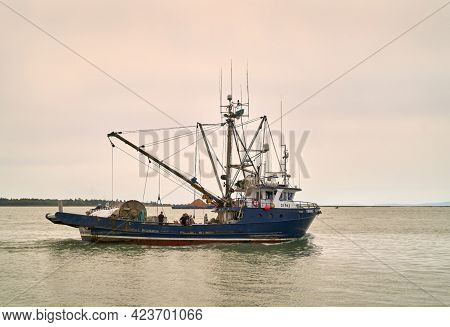 Richmond, British Columbia, Canada - August 18, 2018. Fishing Seiner Departing For Georgia Strait. A